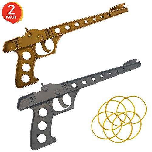 Gamie Rubber Launcher Toy Gun Shooting Game for Kids - Set of 2 - Total of 2 Launchers, and 8 Rubber Bands - Fun Party Activity and Birthday Party Favor for Boys and Girls