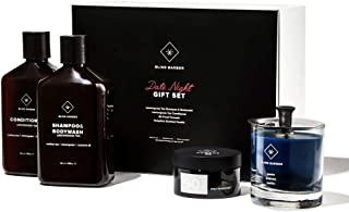 Blind Barber Date Night Gift Set - Premium 4-Piece Hair & Skin Care Kit for Men with Shampoo, Conditioner, 90 Proof Pomade & Scented Candle