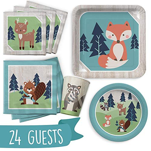 Woodland Animal Birthday Party Supply Set | Super Cute, All-In-One 120 Piece Set Includes Plates, Cups, and Napkins | Serves 24 Guests | Forest Creature Theme Perfect for Birthdays or Baby Showers