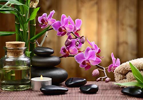 wandmotiv24 Fototapete Spa Steine Öl Bambus Rosa Orchideen L 300 x 210 cm - 6 Teile Fototapeten, Wandbild, Motivtapeten, Vlies-Tapeten Wellness Kerze M4816