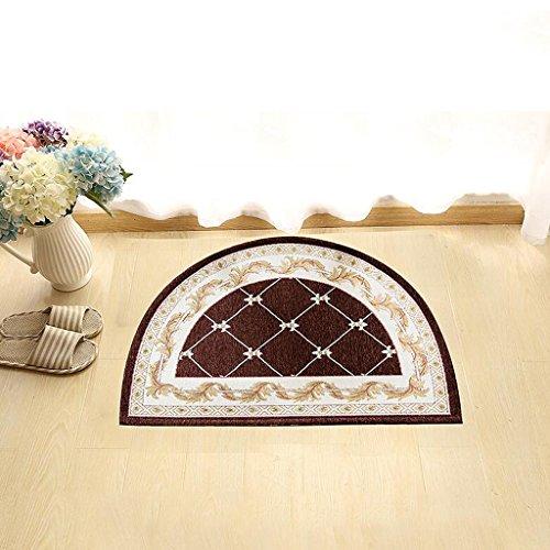 CLDyuffjgk Puerta de baño semicircular Alfombrillas absorbentes antideslizantes Dormitorio Alfombra de entrada Alfombra de baño Alfombra (Color : Brown)