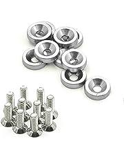 10 arandelas de aluminio anodizado para coche M60 tornillos de acero (verde), plateado