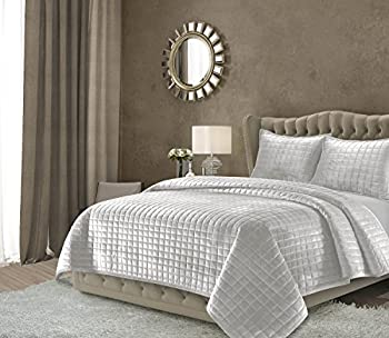 Tribeca Living FLORENCEQUIQUSI Florence Velvet Oversized Solid Quilt Set Queen Silver Grey