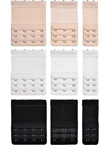 9 Stücke BH Extender, 2 Haken/ 3 Haken/ 4 Haken BH Bügel Erweiterung Damen Elastische Bequeme Extender, 3 Farben (3 Reihen)