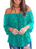 MIHOLL Womens Casual Tops Off The Shoulder Blouses Tops (Green, Medium)