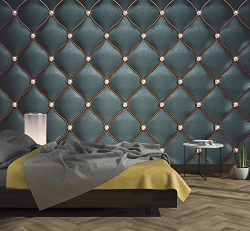 murimage Fototapete Leder Schwarz 274 x 254cm inklusive Kleister 3D Optik Edel Luxus Diamanten Glanz Schlafzimmer