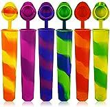 6 moldes de silicona para helados, sin BPA, 100 % silicona alimentaria, para zumo, yogur, pudding y fruta, con tapa, perfectos para niños y adultos