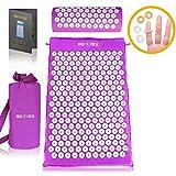 High Pulse Kit de massage par pression + poster - Matelas d'acupression et coussin d'acupression pour soulager les douleurs et les courbatures (Violet)