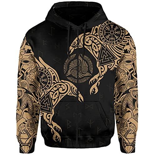 Feinny Raven - Sudadera con capucha y cremallera para hombre, diseño de Odin Raven, color dorado