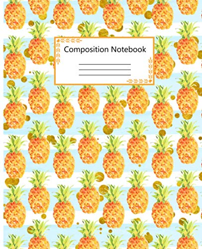 Primary Composition Notebook: Large Pretty Striped College Ruled Notebook For Kids, Girls, Teens, Students And Teachers | White and Blue Striped ... Workbook for Notes, Lists, Recipes, and More