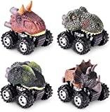 Dinosaur Toys for 3-6 Year Old Boys, Pull Back Dinosaur Cars for Kids Pull Back Vehicles Pull Back Dinosaur Toys for 5 Year Old Boy 4 Pack Set Car Toys for 4 Year Old Boys Birthday Gift Toys Dino Cars