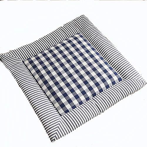 ZJZJ Comodidad Ropa De Algodón Seat Cushion,Cojinsillas Respirable Suave,Casa Oficina Sentarse No Está Cansado Cushion Azul Oscuro 40cm