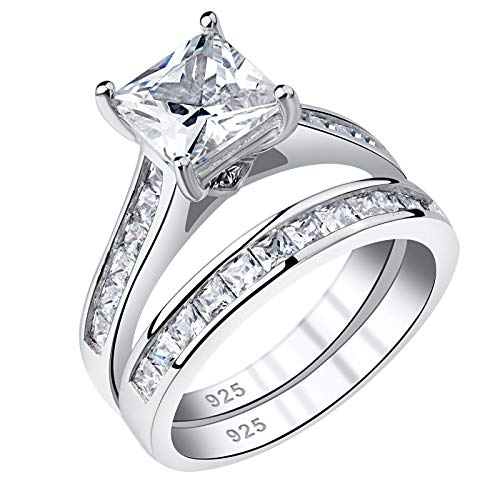 Newshe Wedding Rings for Women Engagement Ring Sets Princess 925 Sterling Silver Cz 1.8Ct Size 7