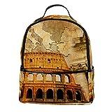 TIZORAX Mochila para ordenador portátil de arquitectura romana antigua, casual, mochila de hombro para estudiante, mochila escolar, bolso de mano, ligera