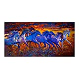 N / A Canvas Painting Animal Posters and Prints Oil Painting Abstract Gallop Wall Picture For Living Room Home Decoration Frameless 40x80cm
