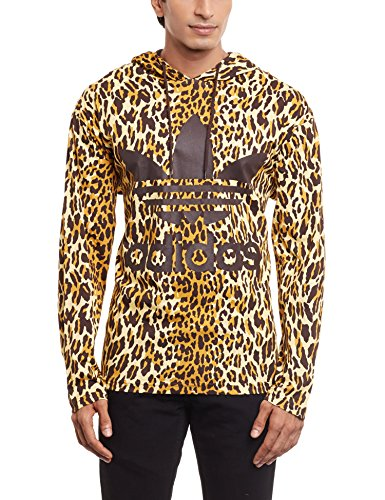 adidas Jeremy Scott Leopard - Sudadera con capucha Multicolor / negro / marrón oscuro. XL