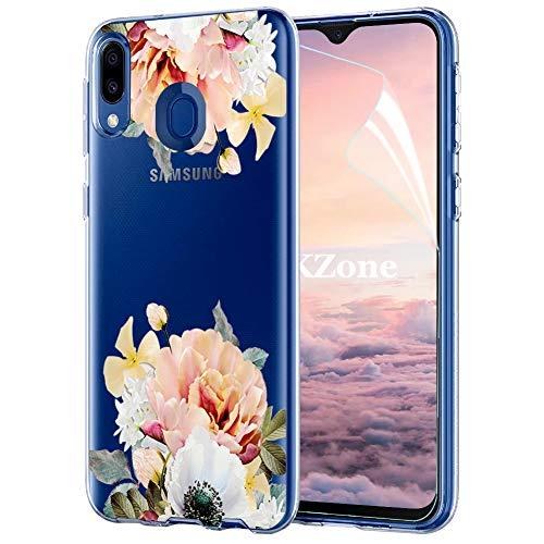 OKZone Funda Galaxy M20, Funda Diseño Floral con Flores Transparente Silicona Suave TPU Bumper Protectora Enjaca Espalda Cubierta para Samsung Galaxy M20 (Amarillo)