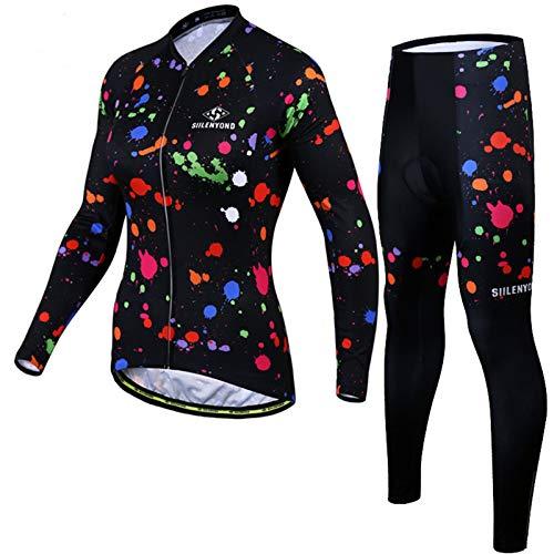 YFFS Jerseys De Ciclismo Trajes De Ciclismo De Manga Larga con Pantalones De Babero Acolchados De Gel 3D Ropa Conjunto De Ropa Deportiva (5,XL)