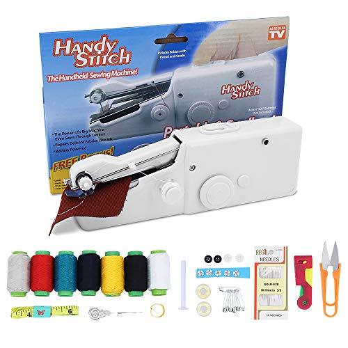 TAECOOOL Máquina de coser de mano Mini máquina de coser eléctrica, utilizada para coser portátiles de ropa, telas, cortinas, esencial para viajes y uso doméstico (blanco)