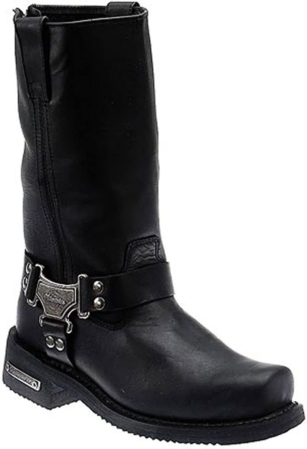 Milwaukee Motorcycle Clothing Company Classic Harness Leather Men's Motorcycle Boots (Black, Size 11EE)