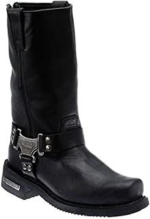 Milwaukee Motorcycle Clothing Company Classic Harness Leather Men's Motorcycle Boots (Black, Size 8.5EEE)