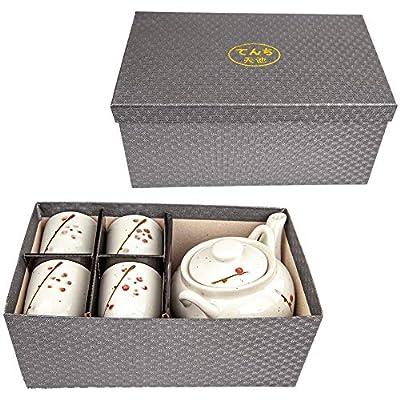 LakeTian 5 sets Japanese Design Ceramic Tea Pot and Cups Set Serves 5 Guests Excellent Colorful Home Decor Asian Living Decorative Accent Teapot sets (plum blossom)
