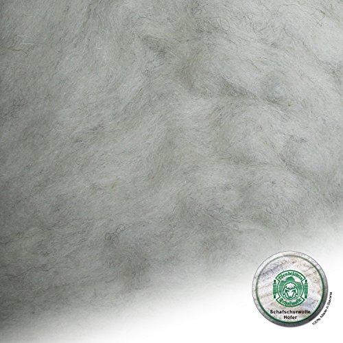 Schafwolle Höfer Filzwolle Bastelwolle Märchenwolle ungefärbt Natur 100 Gramm Farbe N2 hellgrau