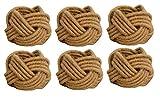 Kaizen Casa Set of 6 Classic Braided Jute Burlap Napkin Rings (Cream, 6)