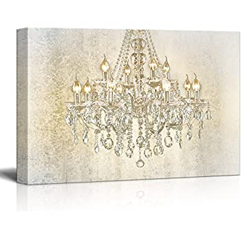 wall26 - Chandelier on Vintage Background - Canvas Art Wall Art - 24x36 inches