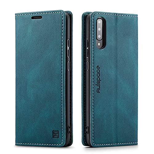 LOLFZ Hülle für Samsung Galaxy A50, Vintage Dünne Leder Handyhülle mit RFID Schutz Kartenfach Ständer Magnetische Flip Schutzhülle Kompatibel mit Galaxy A50 - Blau