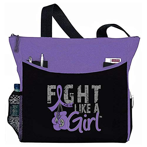 Fight Like a Girl Boxing Glove Tote Bag'Dakota' in Purple for Pancreatic Cancer Lupus Epilepsy Chiari Malformation (Assorted Colors)