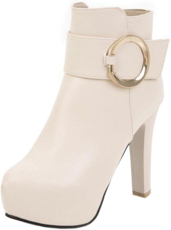 KemeKiss Women Fashion Block High Heel Bootie Boots with Zipper