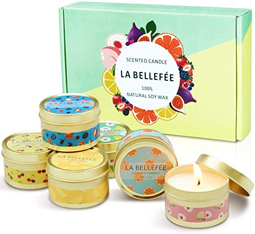 LA BELLEFÉE Fruity Scented Candles Gift Set, 6 x 2.5oz Natural Soy Travel Tin Candle with Fruit Fragrace (Berry, Peach, Cherry, Grapefruit, Tarocco Blood Orange, Fig are Fragrant)