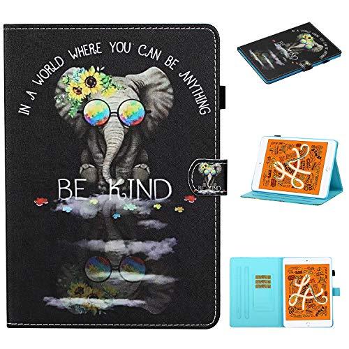 Funda Tablet para iPad Mini Carcasa con Soporte Función Diseño PU Cuero Protección Flip Wallet Case iPad mini Case Cuero con Auto-Sueño/Estela Ranura Cover para iPad Mini 1/2/3/4/5,Gafas de elefante