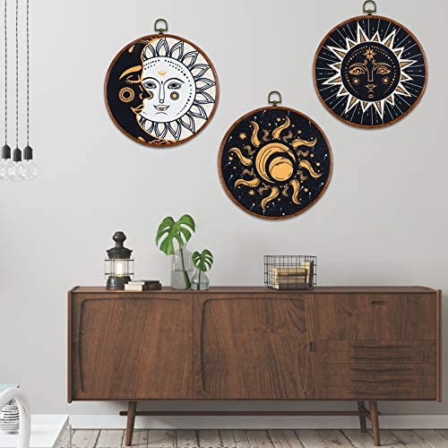3 Pieces Sun and Moon Canvas Wall Art Psychedelic Burning Sun Picture Prints Hippie Bohemian product image