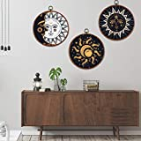 3 Pieces Sun and Moon Canvas Wall Art Psychedelic Burning Sun Picture Prints Hippie Bohemian Wall Art Paintings Wall Hanging for Room(9.8 x 9.8 inches)