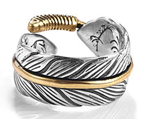 RXISHOP Anillo abierto de plata S925 para hombres y mujeres, pluma retro moda punk anillo novio padre afortunado anillo de regalo 16-25#