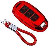 Coque en Silicone pour Clé Hyundai Keyless – Cover Housse TPU Souple en Chrome pour Télécommande Hyundai Kona i10 i30 ioniq Tucson Santa Fe Porte-clé Protection (Rouge)