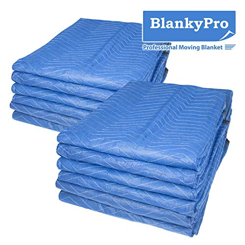"""12 Pack Moving Blankets BlankyPro 80"""" x 72"""" Non-Woven Heavy Duty Shipping Furniture Pad"""