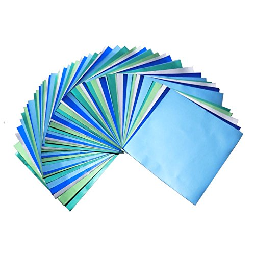 Bluish Foil Paper 90 Sheets Pack, Origami Folding Paper Metallic Blue Colors, 5.9