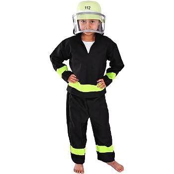 Feuerwehr Mann mit Helm Kinder Kostüm 110 116 für Fasching