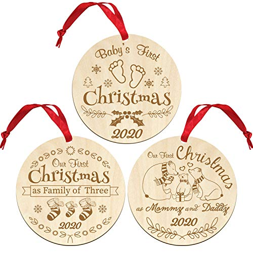 wavvter Babys First Christmas Ornament 2020 Our First Christmas as Mom & Dad Engraved Family Ornament Christmas Tree Decoration (Baby's First Christmas)