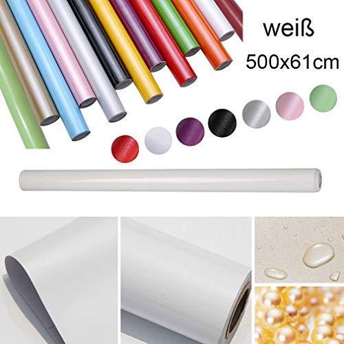 HDM 5M * 61 CM (L*B) dicke PVC Weiß Klebefolie –Wasserabweisend selbstklebend DIY Dekofolie Möbel Renovierung Küchenschränke Möbelfolie Tapeten, Weiß mit glitzerpartikel auf Oberfläche