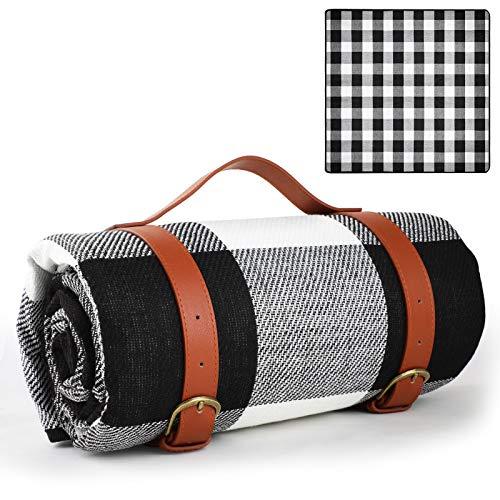 GeeRic Koc piknikowy, kempingowy, 200 x 200 cm, izolowany termicznie koc z uchwytem do noszenia, wodoodporny, składany