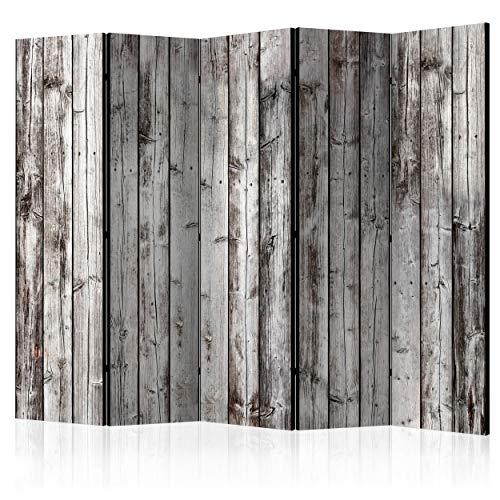 decomonkey Raumteiler Paravent Beidseitig XXL Holz Brett 225x172 cm 5 TLG. Trennwand Vlies Leinwand Raumtrenner Sichtschutz spanische Wand Blickdicht Textile Haptik grau