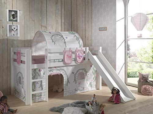 Vipack Spielbett Pino inkl. Rutsche mit Textilset Vorhang und 3 Taschen Birdy Kiefer massiv weiß lackiert