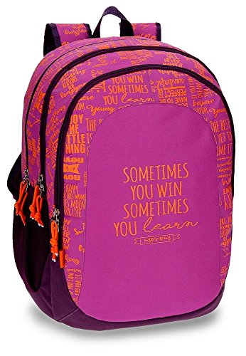 Mochila escolar Movom Smile Violeta doble compartimento adaptable a carro