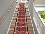 Marash Luxury Collection 25' Stair Runner Rugs Stair Carpet Runner with 336,000 Points of Fabric per Square Meter, Sarouk Red