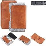 K-S-Trade® Schutz Hülle Für Simvalley Mobile SPT-210 Gürteltasche Gürtel Tasche Schutzhülle Handy Smartphone Tasche Handyhülle PU + Filz, Braun (1x)