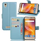GARITANE Case for ZTE Blade A452,Shockproof Leather Flip Cover Notebook Wallet Case with Magnetic Closure Card Slot for ZTE Blade A452 (Blue)